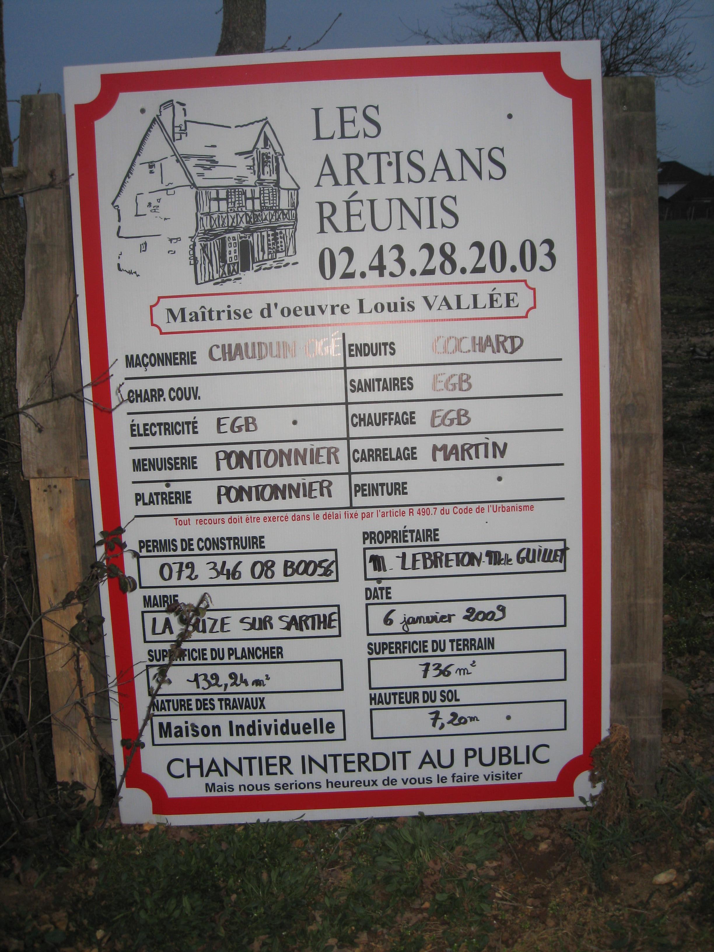 Le journal de notre maison a actu for Panneau de permis de construire gratuit